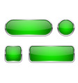 web buttons green shiny icons with chrome frame vector image vector image