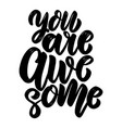 you are awesome text lettering phrase vector image vector image
