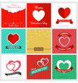 Set of nine style happy Valentine Card Design vector image