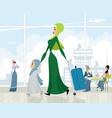 arab women at the airport vector image