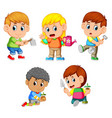 a group of happy children holding the garden tools vector image vector image