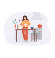 adorable woman cooking on table in kitchen girl vector image