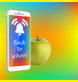 back to school smartphone green apple vibrant vector image vector image