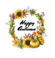 banner happy autumn with yellow leave vector image