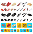 barbecue and equipment cartoon icons in set vector image vector image