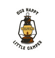 camping badge design - our happy little camper vector image vector image