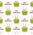 christmas seamless pattern with cute rabbit vector image