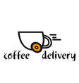 coffee delivery coffee cup white background vector image