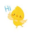 cute chicken saying hi funny bird cartoon vector image vector image
