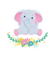 cute grey elephant with wreath flowers vector image vector image