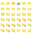 file and folder icon set flat style vector image