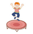 flat redhead boy jumping at trampoline vector image