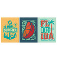 florida beach summer apparel designs set vector image