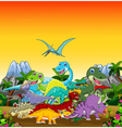 funny dinosaur cartoon with forest landscape backg vector image vector image