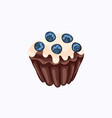 glazed chocolate muffin with blueberry isolated vector image vector image