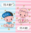 greeting card with cute babies boy and girl vector image vector image