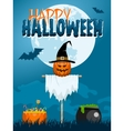 Halloween Scarecrow Postcard vector image