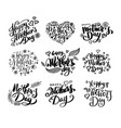 happy mothers day calligraphy collection vector image