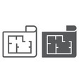 house plan line and glyph icon real estate vector image