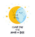 hugging moon and earth planet sweet vector image