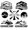 kayaking camp vintage labels set vector image