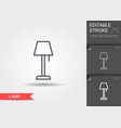 lamp line icon with editable stroke with shadow vector image vector image