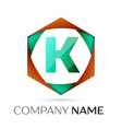 letter k symbol in the colorful hexagonal vector image vector image