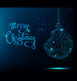 merry christmas greeting card blue christmas tree vector image