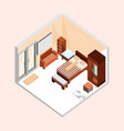 natural brown isometric home interior design vector image vector image