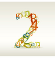 number two made from colorful numbers vector image vector image