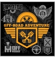 Off-road suv car emblems badges and icons Off vector image