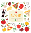 Pizza lettering with cartoon ingredients vector | Price: 3 Credits (USD $3)