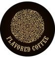 round calligraphic emblem floral symbol vector image vector image