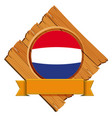 round icon for netherlands with banner vector image vector image
