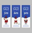 set of christmas sale banners cute santa claus vector image vector image