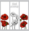 set vertical banners with hand drawn red vector image vector image