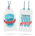 set vintage thank you tags vector image