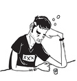simple black and white sad man drinking vector image vector image