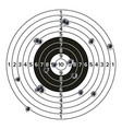 target gun with bullet holes classic paper vector image