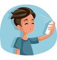 teen boy using hairspray cartoon vector image vector image