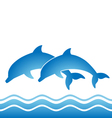 two jumping dolphins vector image vector image