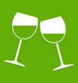 two wine glasses icon green vector image vector image