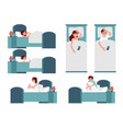 unhappy women men with insomnia in bed set vector image