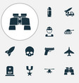 warfare icons set with artillery helicopter vector image vector image