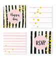 wedding glitter confetti on stripes invitation vector image