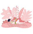 woman in bikini sunbathing in sunset pink summer vector image vector image