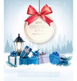 Christmas presents with a gift card and a ribbon vector image