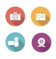Digital camera flat design icons set vector image