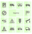 14 traffic icons vector image vector image