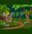 a barn or house in middle forest vector image vector image